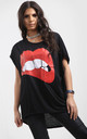 Harper Lips Graphic Print Oversize Tshirt In Black by Oops Fashion