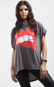Harper Lips Graphic Print Oversize Tshirt In Charcoal by Oops Fashion