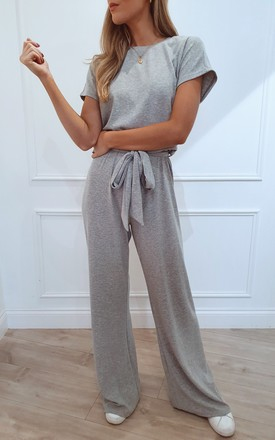 Claude Ribbed Loungewear Jumpsuit - Grey by Pretty Lavish