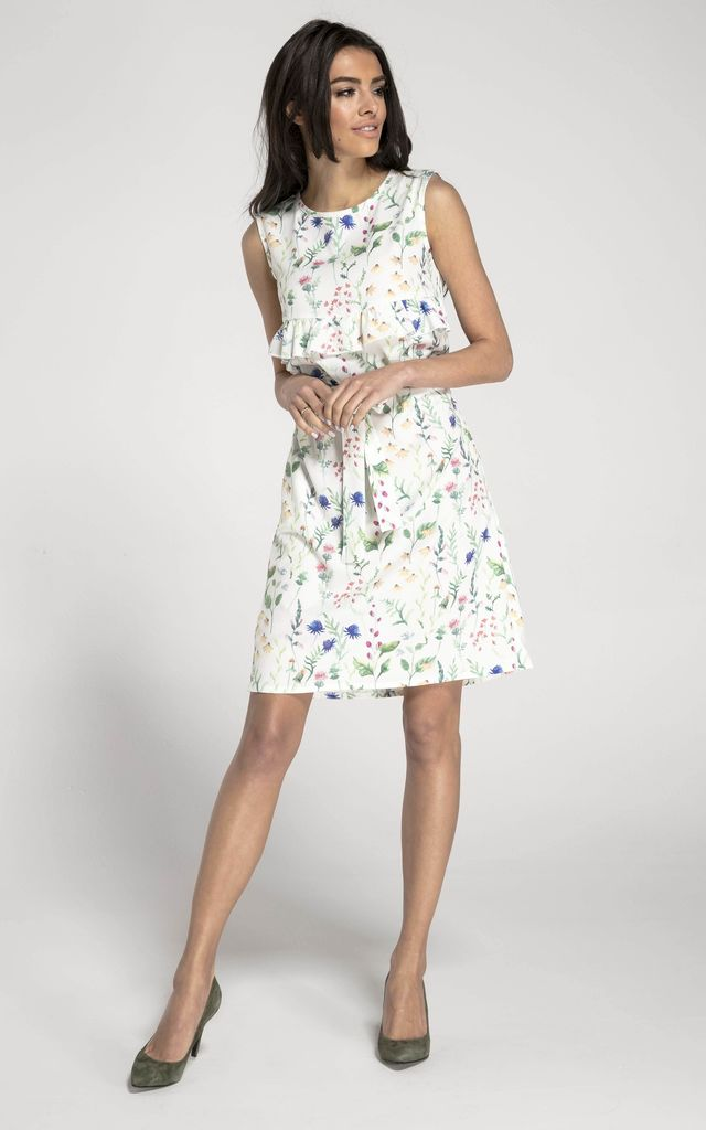 Sleeveless Mini Dress with Frill in White Floral Print by By Ooh La La