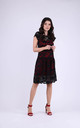 Cap Sleeve A-Line Lace Dress in Black/Red by Bergamo