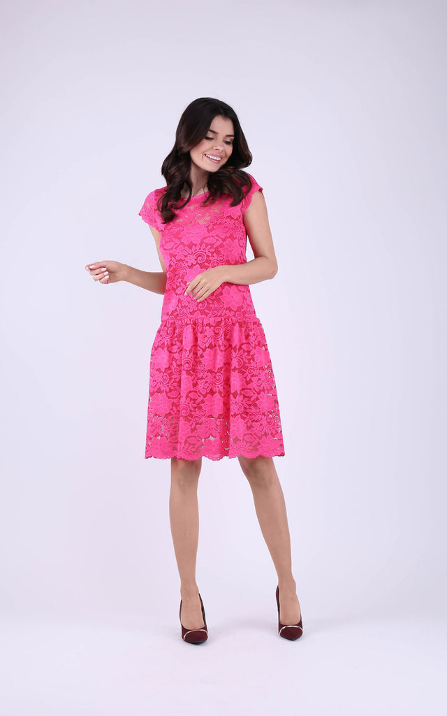 Cap Sleeve A-Line Lace Dress in Pink by Bergamo
