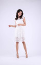 Cap Sleeve A-Line Lace Dress in White by Bergamo