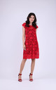 Cap Sleeve A-Line Lace Dress in Red/Black by Bergamo