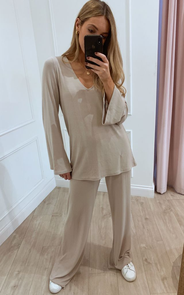 Drew Ribbed Loungewear Top - Taupe by Pretty Lavish