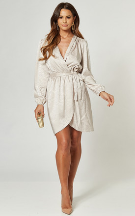 Ivory Cream Leopard Jacquard Satin Wrap Dress by Love Product photo