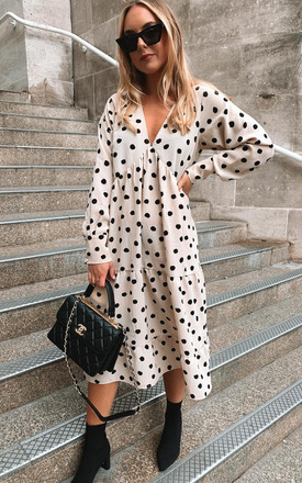 Dotty Day Dress   Beige Polka Dot by Pretty Lavish Product photo