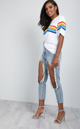 Katie White Oversized Jersey Tshirt with Rainbow Stripes by Oops Fashion