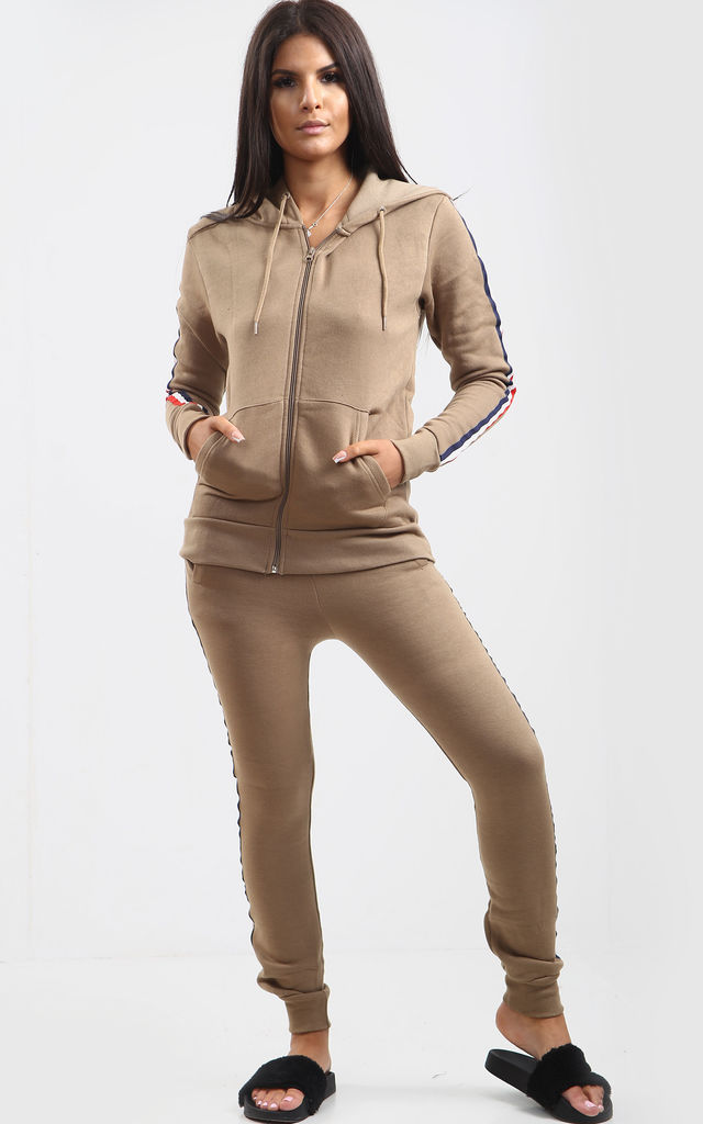 Kerry Mocha Loungewear Set with Side Stripe by Oops Fashion