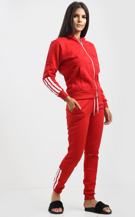 Olivia Side Stripe Tracksuit Set In Red by Oops Fashion