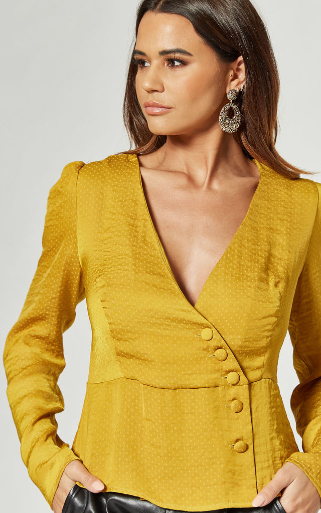 V-Wrap Button Front Blouse in Mustard by LIENA