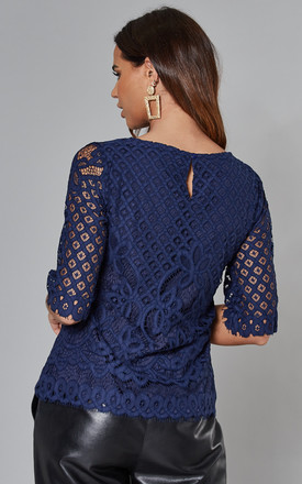 Placement Lace Top with 3/4 Sleeves in Navy by Yumi