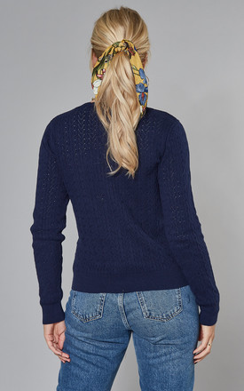 Navy Pointelle Stitch Cardigan With Daisy Buttons by Yumi