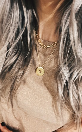Hammered Coin Gold Plated Necklace by Gold Lunar