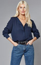 Collarless Shirt in Navy by VILA