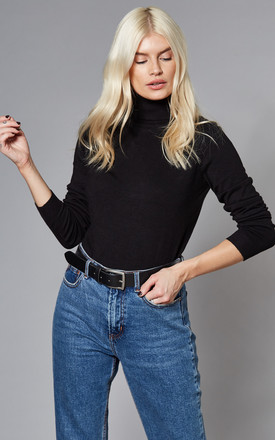 Roll Neck Knitted Top In Black by VILA Product photo