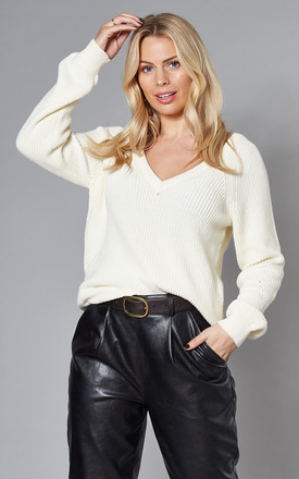V Neck Knitted Jumper In White by VILA Product photo