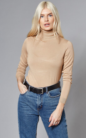 Roll Neck Knitted Top In Camel by VILA Product photo