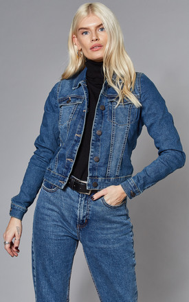 Cropped Denim Jacket In Medium Blue by Noisy May Product photo