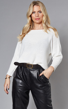 Boatneck Knitted Top In White by VM Product photo