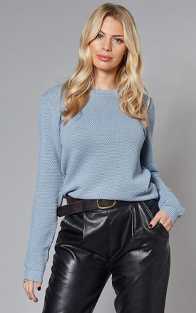 Long Sleeve Textured Jumper In Blue by VILA Product photo