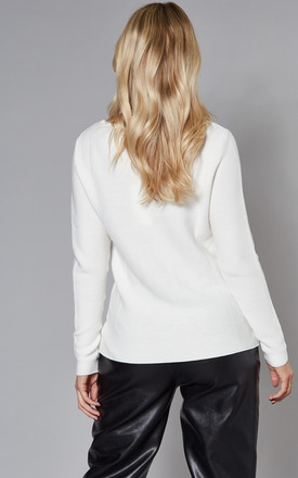 Ribbed Jumper with Long Sleeve in White by VILA