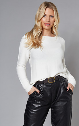 Ribbed Jumper With Long Sleeve In White by VILA Product photo