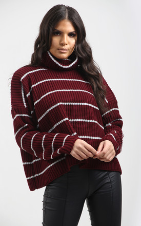 Nicole Striped Polo Neck Jumper In Wine by Oops Fashion