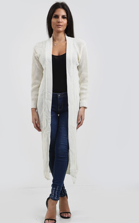 Jess Chunky Knitted Open Cardigan In Cream by Oops Fashion