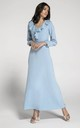 Long Sleeve Maxi Dress with Frills in Blue by By Ooh La La