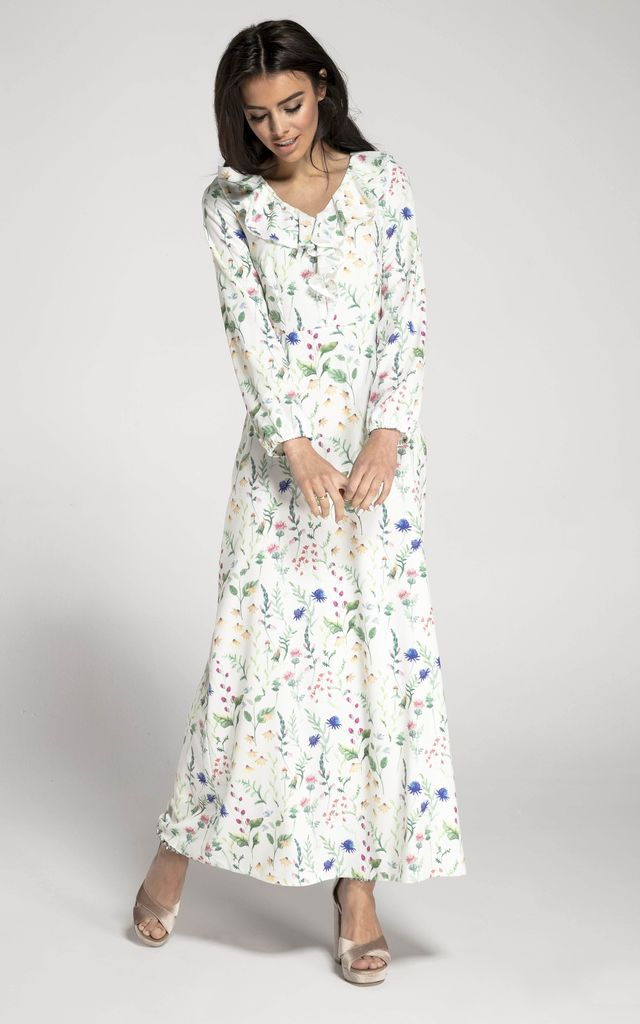 Long Sleeve Maxi Dress with Frills in White Floral Print by By Ooh La La