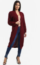 Jess Chunky Knitted Open Cardigan In Wine by Oops Fashion