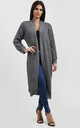 Jess Chunky Knitted Open Cardigan In Grey by Oops Fashion