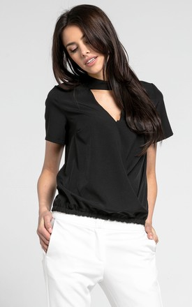 Black Choker Top with Short Sleeves by By Ooh La La