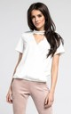 White Choker Top with Short Sleeves by By Ooh La La
