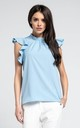High Neck Top with Frills in Blue by By Ooh La La