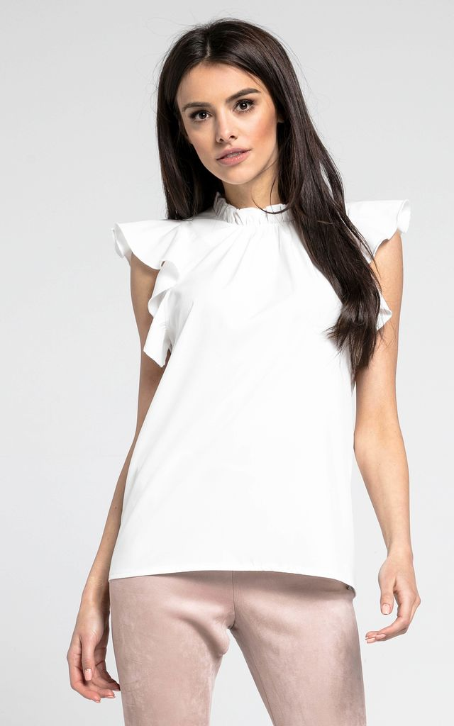 High Neck Top with Frills in White by By Ooh La La