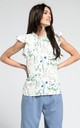 High Neck Top with Frills in White Floral Print by By Ooh La La