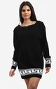 Emma Black Chunky Knit Jumper with Aztec Print by Oops Fashion