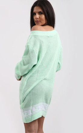 Emma Mint Chunky Knit Jumper with Aztec Print by Oops Fashion