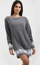 Emma Grey Chunky Knit Jumper with Aztec Print by Oops Fashion