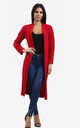 Emilia Open Front Check Board Cardigan In Red by Oops Fashion