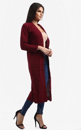 Emilia Open Front Check Board Cardigan In Wine by Oops Fashion