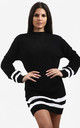 Jessica Striped Jumper In Black by Oops Fashion