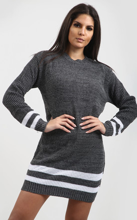 Jessica Striped Jumper In Charcoal Grey by Oops Fashion
