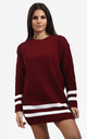 Jessica Striped Jumper In Wine Red by Oops Fashion
