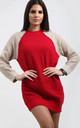 Saskia Colour Block Jumper Dress In Red with Stone by Oops Fashion