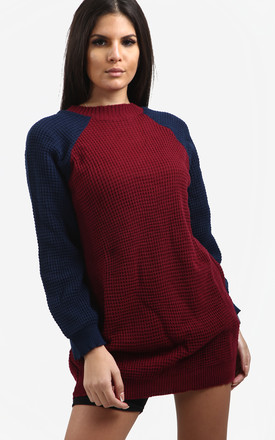 Saskia Colour Block Jumper Dress In Wine Red with Navy by Oops Fashion