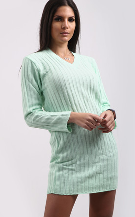 Amelie V Neck Ribbed Knit Jumper In Apple Green by Oops Fashion
