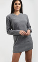 Amelie V Neck Ribbed Knit Jumper In Grey by Oops Fashion